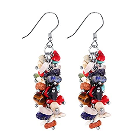Lianjie Stone Cluster Reconstructed Coral Silver Hook Dangle Drop Earrings (Multicolour)