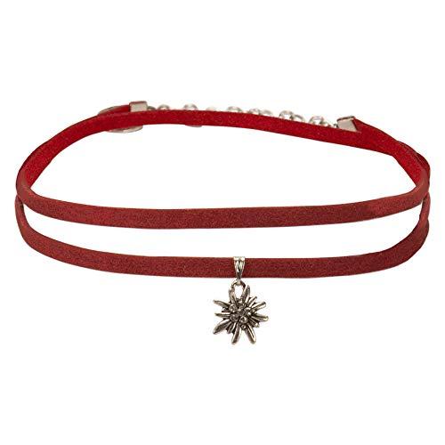 Alpenflüstern Trachten-Wickelband-Halskette Edelweiss - Damen-Trachtenschmuck Dirndlkette rot DHK234