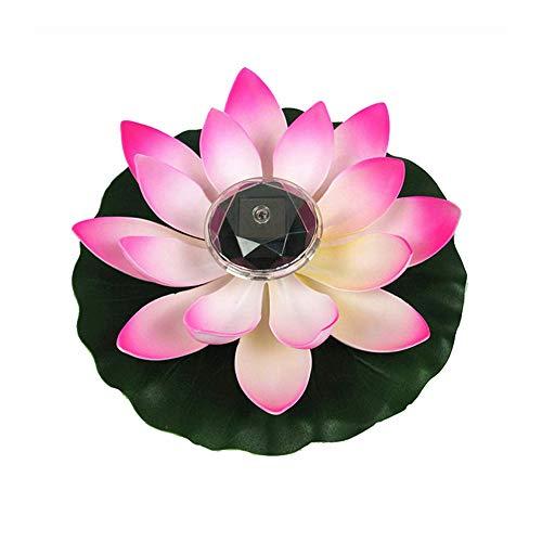 ZN Solar Schwimmende Lichter Wasserdicht Lotus Lichter Künstliche Schwimmteichpflanzen Gefälschte Lotusblüte für Garten im Freien Teich Nachtlichter Pool Dekoration (Rosa)