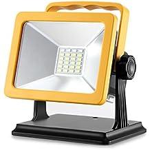 15W LED Foco Luz con cargador de coche, aozbz 1000LM Super Bright Foco 24ledes con SOS de luz, recargables Foco de Luz Luz de trabajo, densidad de agua exterior de seguridad luces