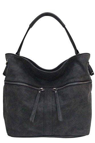 Schulter Große Handtasche (Flora & Co (Farbauswahl) Damen Handtasche PU-Leder Beuteltasche Shopper Umhängetasche Schultertasche Tasche)