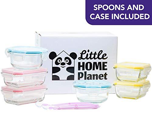 Home Planet Little Wiederverwendbar Glas Babynahrung Aufbewahrung (6er Set)   Mit 2 Baby Silikon Löffeln und Etui   BPA Frei Luftdicht klick Lock Deckel   Mikrowelle und Enfrieren