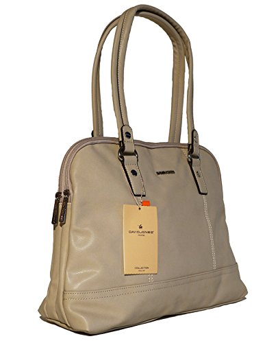 Borsa donna a mano o a spalla David Jones in ecopelle modello classico a doppio manico con tasca interna porta tablet, netbook o ebook reader Beige