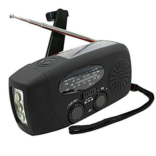 Digital Solar-Radio, TKSTAR AM / FM / WB Radio Mini Portable Solar-Ladegerät Radio Solarenergie mit hellen LED-Taschenlampe Dynamo LED-Taschenlampe Notfall-Power-Bank für iPhone / Android Smart Phone JU-WH020 (Schwarz)
