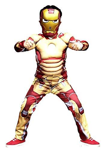 Costume Iron Man - Costumino - bambini - Carnevale - Halloween - Travestimento - cosplay - ottima qualità - Taglia S - 3-4 anni - Idea regalo per natale e compleanno