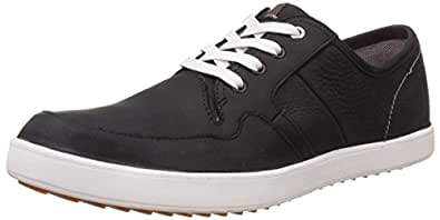 Hush Puppies Men's Hanston Roadside Black Leather Sneakers - 10 UK/India (44 EU)(8246193)