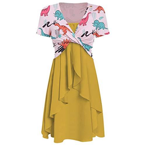 Bovake_Blouse Damen Dinosaurier-Kleid, Bedruckt, mit hoher Taille und Schrägkragen, kurzärmlig, Krawattenknoten, zweiteilig, lässig, Sommer-Mode, Gelb - gelb - Größe: Medium -