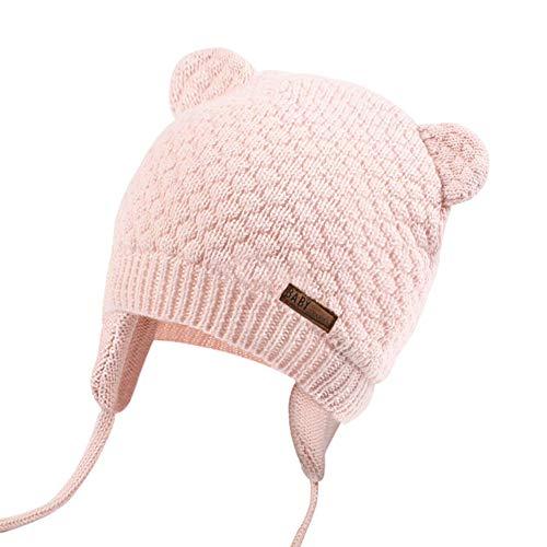 JOYORUN Unisex - Baby Mütze Beanie Strickmütze Unifarbe Wintermütze Rosa S - Gestrickte Aus Baumwolle Mütze