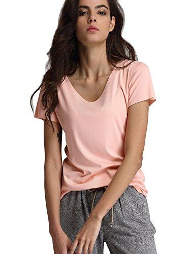 Escalier Camiseta de Manga Corta Blusas Casuale con Cuello en V T-Shirt de Color Solido Tops para Mujer Rosa XL