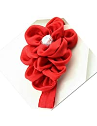 Needybee Headband In Lace and Satin Flower(Red)