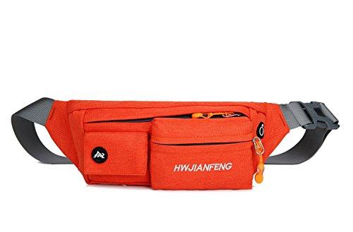 X2X Marsupio Impermeabile Sportivo con Foro Auricolare / Borsa da Cintura per l'esecuzione di Trekking Arrampicata Viaggiando Bicicletta (Nero) Arancia