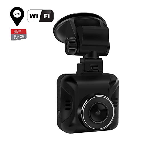 Wordcam 1.5'HD Car Dash CAM, 1296P Dash Camera Recorder GPS WiFi Incorporado, 165 ° Gran Angular, Visión Nocturna, Grabación de Loop, Monitor de Estacionamiento + Tarjeta SD de 16GB Gratis
