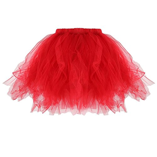 Kleid Damen,Binggong Tütü Damen Tüllrock Mädchen Ballet Unterrock Ballett Kostüm Tüll Röcke Festliche Pettiskirt Ballerina Petticoat Dirndl Tutu Rock (Taille: 60-106cm Länge: 35cm, rot)