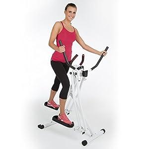 VITALmaxx Trainingsgerät Air Walker | Heimtrainer – Kombination aus Nordic Walking und Crosstrainer für zu Hause | klappbar, platzsparend, Indoor, weiß