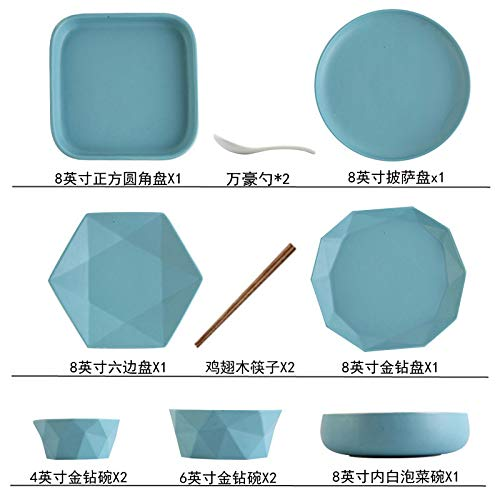 ordic einfaches Geschirr Kombination Geschirr Teller Set Haushaltskeramik Peeling 13-teiliges Set (Dose Mikrowelle) Lake Blue ()