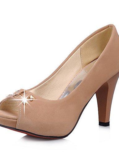 WSS 2016 Chaussures Femme-Habillé / Soirée & Evénement-Noir / Beige / Amande-Gros Talon-Bout Ouvert-Talons-Similicuir black-us9 / eu40 / uk7 / cn41