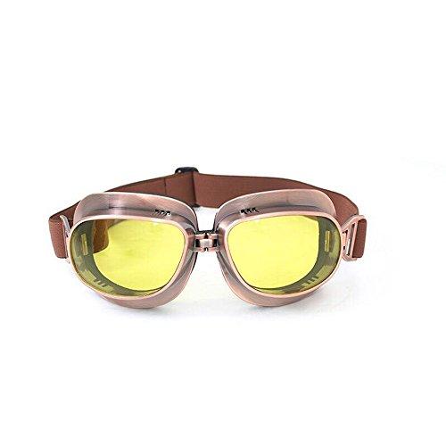 FLKAYJM Vintage Motorradbrille Schutzbrille Retrodesign Augenschutz Brille,Bronze/Amber Brillenglas