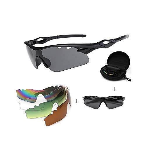 JIGAN Sport-Sonnenbrille, UV 400 Protection Windproof Radsportbrille mit 4 auswechselbaren Gläsern,Black