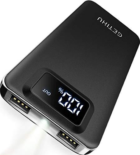 GETIHU Powerbank 10000mAh LED Display Tragbares Telefon Ladegerät 4.8A Schnelles Laden Externer Akku Backup 2 USB Ports mit Taschenlampe Kompatibel mit iPhone XS X 8 7 6s 6 Plus Samsung Galaxy HTC