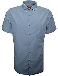 Hugo Boss Men's Hugo Boss Orange Men's Slim Fit Light Pastel Blue Cattitude Short Sleeve Shirt