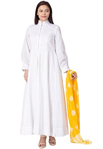 Utsav Fashion Solid Color Cotton Abaya Style Suit in White Colour