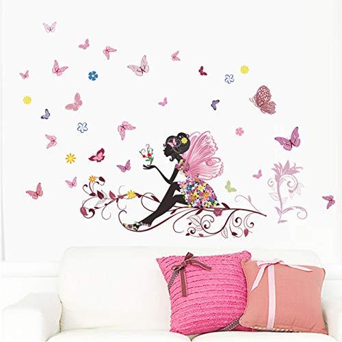 qunxun Schmetterling Blume Fee Wandaufkleber Für Kinderzimmer Schlafzimmer Dekor DIY Cartoon Wandtattoos Wandbild Kunst PVC Poster 80 * 120 cm -