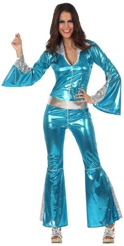 Silber-blaues Disco-Kostüm für Damen - M / L