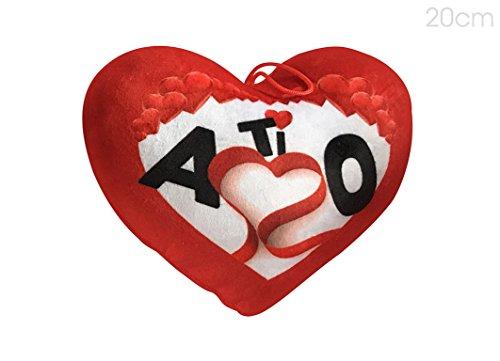 Cuscino a forma di cuore in peluche, dotato di cordino per essere appeso, di 20cm con dedica - ti amo - ideale per san valentino e come regalo romantico per lui e per lei per tutto l'anno.