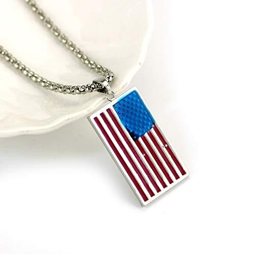 Kreatives Design Amerikanische Flagge Halskette Punk Alloy Usa Patriot Freedom Stars Und Streifen Halsketten Für Frauen Männer Kragen Schmuck