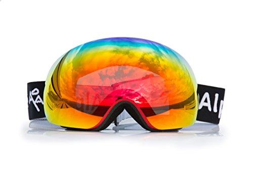 Alp zone occhiali da sci/snowboard goggle pieno verspiegelt rahmlose antifog con grande visione campo lenti di alta qualità, rot