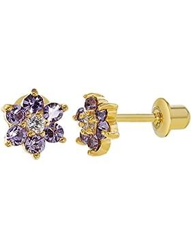 In Season Jewelry Mädchen - Schraubverschluss Ohrringe Blume Lila Weißer Kristall 18k Vergoldet 5mm
