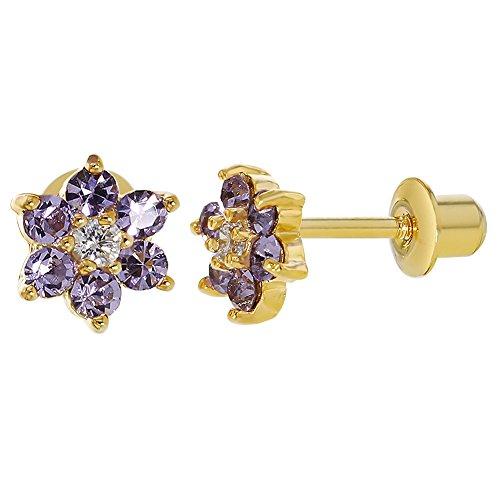 Vergoldet 18 Karat Kristalle Violett Blumen Baby Mädchen mit Schraubverschluss Ohrringe 5 mm
