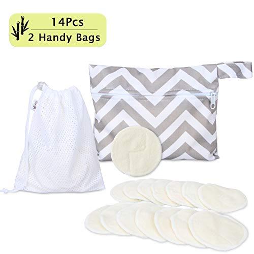 Luxja Bambus Abschminkpads Waschbare, Makeup Entferner Pads Wiederverwendbare (Packung mit 14 Stück) mit 2 Aufbewahrungstaschen, Makeup Cleansingpads (Fit für empfindliche Haut)