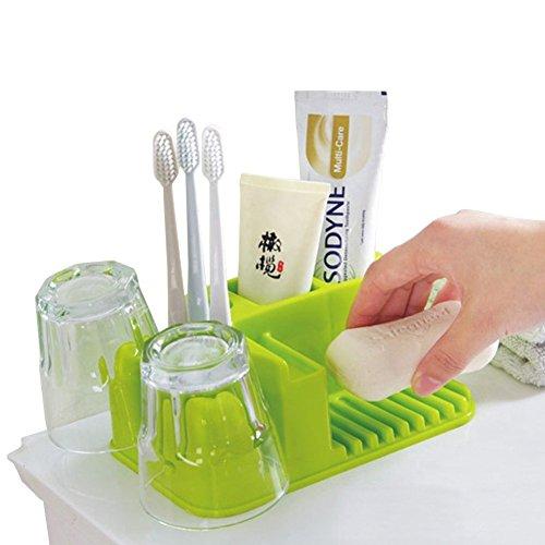 pet-lifeeling Toilettenartikel Organizer Zahnpasta Zahnbürste Seife Spülen Becher Abtropfgestell grün -