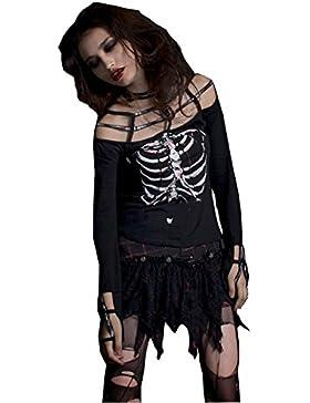 Mujeres Punk Esqueleto Camiseta de algod¨®n G¨®tico manga larga camiseta Blusa Casual Tops