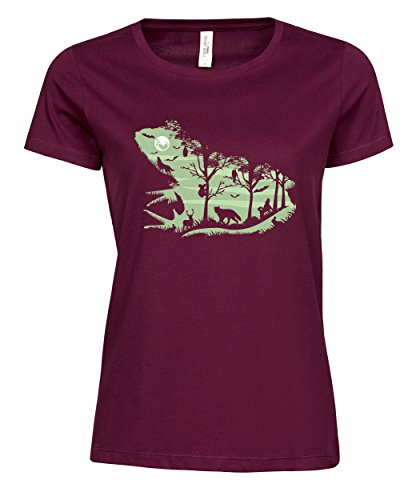 Damen T-Shirt Ladies Luxury Tee Froggy Night Wine M (Einlaufvorbehandelt Womens Tee)