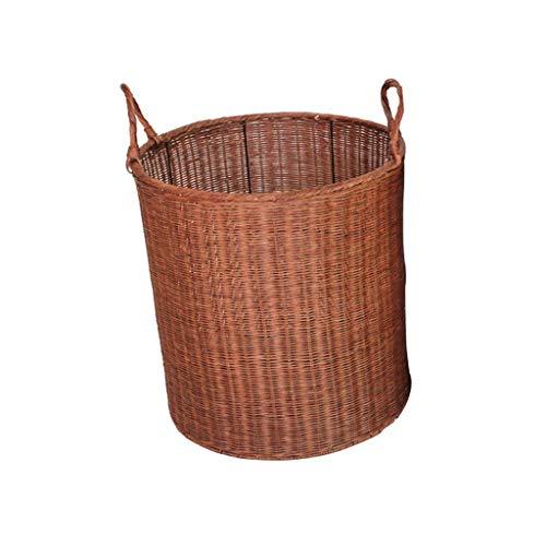 ZHAOSHUNLI Panier à linge Poignée de doublure de tissu de jardin de rotin de panier de panier de blanchisserie de panier à la maison (Couleur : Brown)