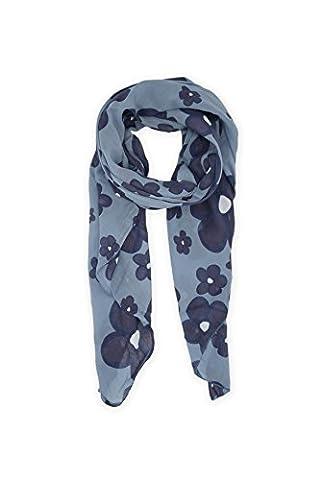 Abbino 0804-11 Blumen Damen Schal Tuch - Made in Italy - 15 Farben - Übergang Herbst Winter Damenschal Delikat Baumwolle Verkauf Charme Sexy Stilvoll Elegant Zärtlichkeit Süß Lässig - Blau Jeans