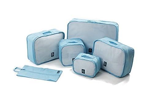 Oklm Lot de 6 Sacs de rangement bagages, Organisateurs valises, Accessoires Organisateurs Voyage, Très Résistants, Conçus en Toile de Parachute (Bleu)