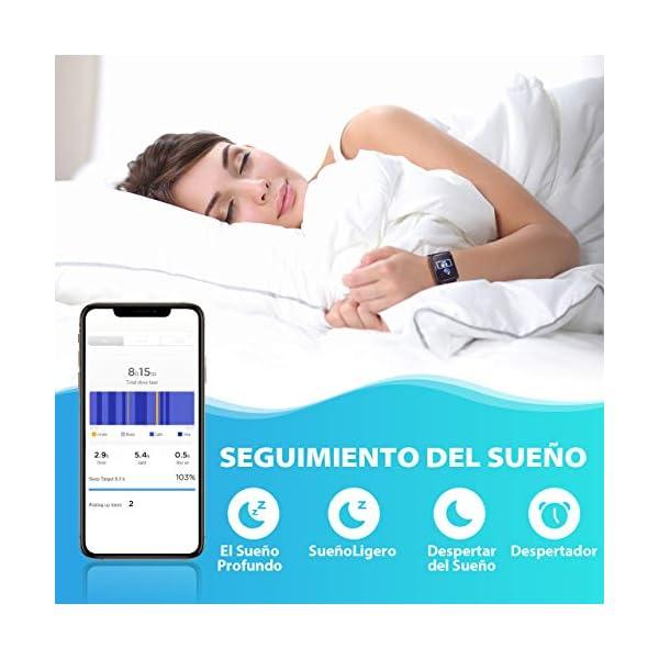 Seneo Reloj Inteligente Hombre, Reloj de Seguimiento de Actividad, Podómetro Deportivo con Monitor de Ritmo Cardíaco Monitor de Sueño para Teléfonos Inteligentes Android o iOS 6