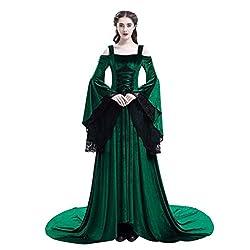 Zottom Court Retro Spitze Nähen großen Trompetenärmeln mittelalterlichen Frauen Retro Mittelalter Party Prinzessin Renaissance Cosplay Spitze Bodenlanges Kleid