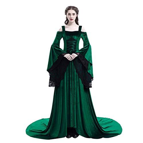 Übergröße Top Kostüm Gun - Lazzboy Frauen Retro Mittelalter Party Prinzessin Renaissance Cosplay Spitze Bodenlanges Kleid Vintage Kostüm Langarm Gothic übergröße Lang Maxi Kleidung(Grün,2XL)