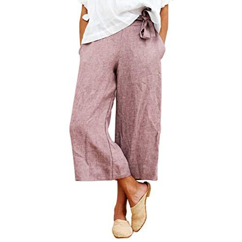 Hffan Damen Haremshose Elegant Pumphose Lange Leinen Hose mit Gürtel Aladin Pants Frau Pluderhosen Elastische Taille Solid Wide Leg Hose Baggy Lose Baumwolle Leinenhose (Hose Wide-leg Leinen)