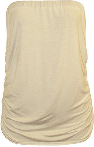 WearAll - Grande taille bandeau top ruché sans manches - Hauts - Femmes - Tailles 42 à 46 Crème