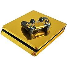 Morbuy Ps4 Slim Skin Consola Design Foils Vinyl Pegatina Sticker And 2 Playstation 4 Slim Dualshock Controlador Skins Set (Gold Glossy)