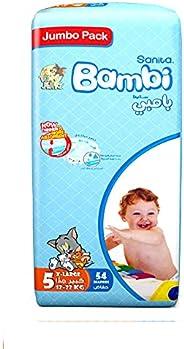 Sanita Bambi Baby Diapers Jumbo Pack Size 5, X-Large, 12-22 KG, 54 Count