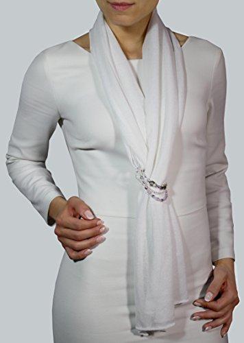 Schmuck-Schal für Damen in 100 % Baumwolle, Schal Damen, Stole Baumwolle, Schultertuch Damen, Eleganter Schal Weihnachtsgeschenk (Glam Cashmere)