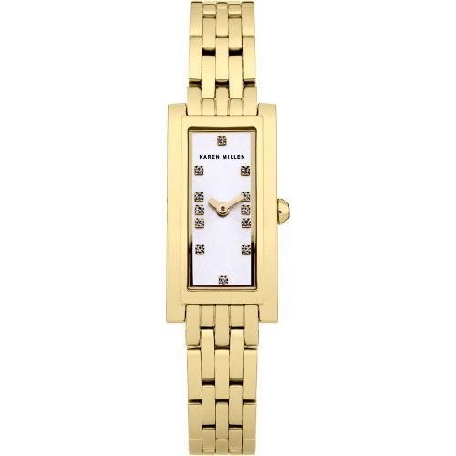 Karen Millen Women's Quartz Watch with Silver Dial Analogue Display and Gold Stainless Steel Gold Plated Bracelet KM120GM