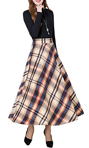 Tribear Damen Retro Faltenrock hohe Taille A-Linie Rock Faltenröcke tartan mit flared röcke Gelb