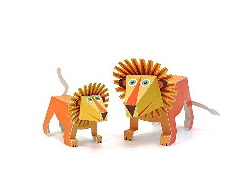 POWERHAUS24 Großer Löwe, Bastelvorlage Tiere aus Afrika, Papier Spielzeug zum Basteln & Spielen